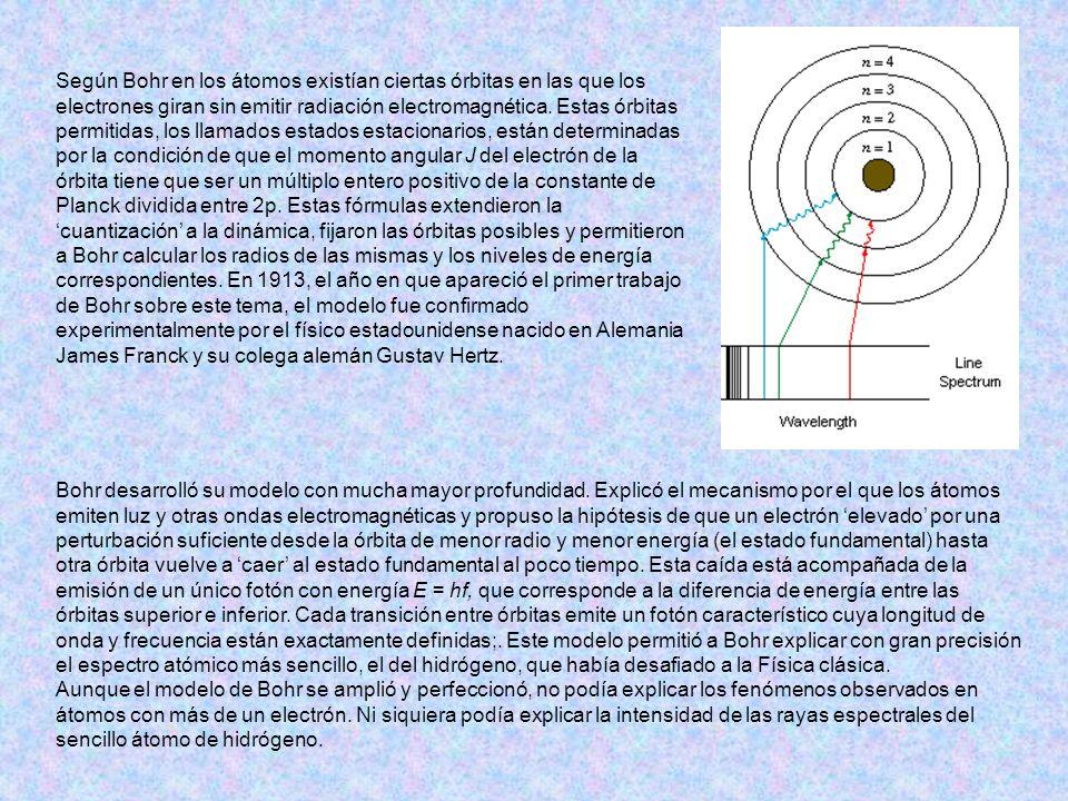 Según Bohr en los átomos existían ciertas órbitas en las que los electrones giran sin emitir radiación electromagnética. Estas órbitas permitidas, los llamados estados estacionarios, están determinadas por la condición de que el momento angular J del electrón de la órbita tiene que ser un múltiplo entero positivo de la constante de Planck dividida entre 2p. Estas fórmulas extendieron la 'cuantización' a la dinámica, fijaron las órbitas posibles y permitieron a Bohr calcular los radios de las mismas y los niveles de energía correspondientes. En 1913, el año en que apareció el primer trabajo de Bohr sobre este tema, el modelo fue confirmado experimentalmente por el físico estadounidense nacido en Alemania James Franck y su colega alemán Gustav Hertz.