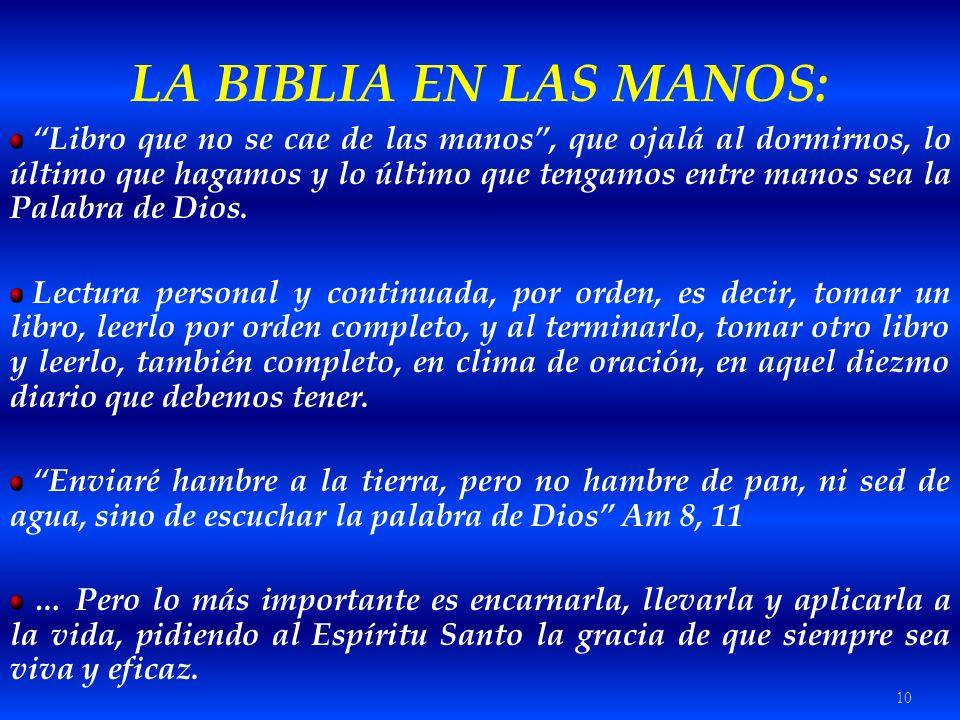 LA BIBLIA EN LAS MANOS:
