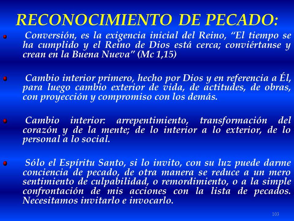 RECONOCIMIENTO DE PECADO: