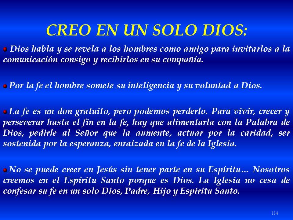CREO EN UN SOLO DIOS: Dios habla y se revela a los hombres como amigo para invitarlos a la comunicación consigo y recibirlos en su compañía.