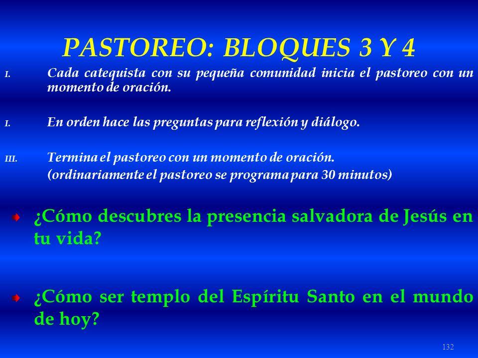 PASTOREO: BLOQUES 3 Y 4 Cada catequista con su pequeña comunidad inicia el pastoreo con un momento de oración.