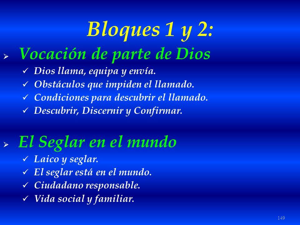 Bloques 1 y 2: Vocación de parte de Dios El Seglar en el mundo