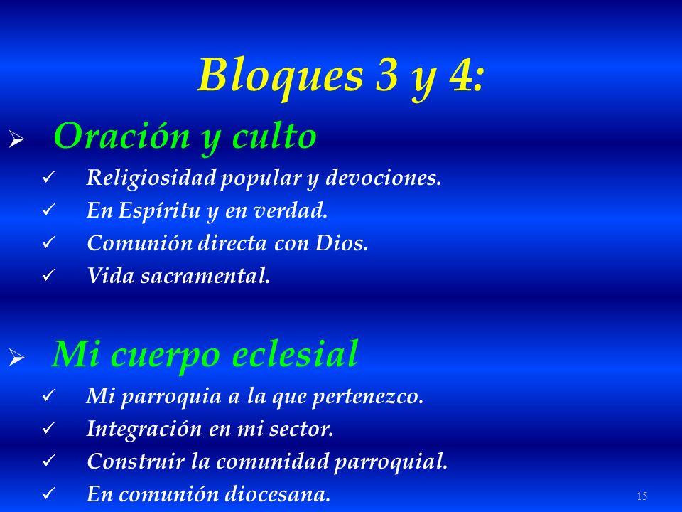 Bloques 3 y 4: Oración y culto Mi cuerpo eclesial