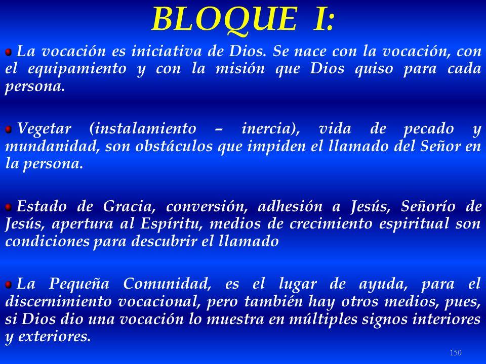 BLOQUE I: La vocación es iniciativa de Dios. Se nace con la vocación, con el equipamiento y con la misión que Dios quiso para cada persona.