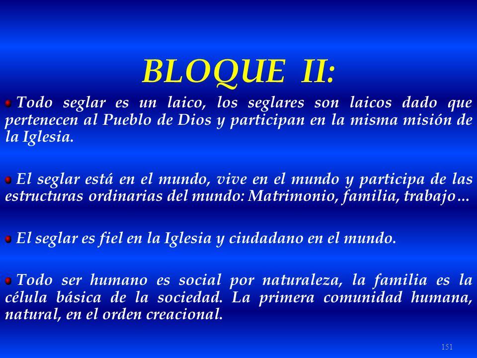 BLOQUE II: Todo seglar es un laico, los seglares son laicos dado que pertenecen al Pueblo de Dios y participan en la misma misión de la Iglesia.