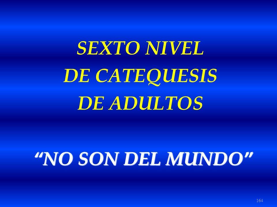 SEXTO NIVEL DE CATEQUESIS DE ADULTOS NO SON DEL MUNDO