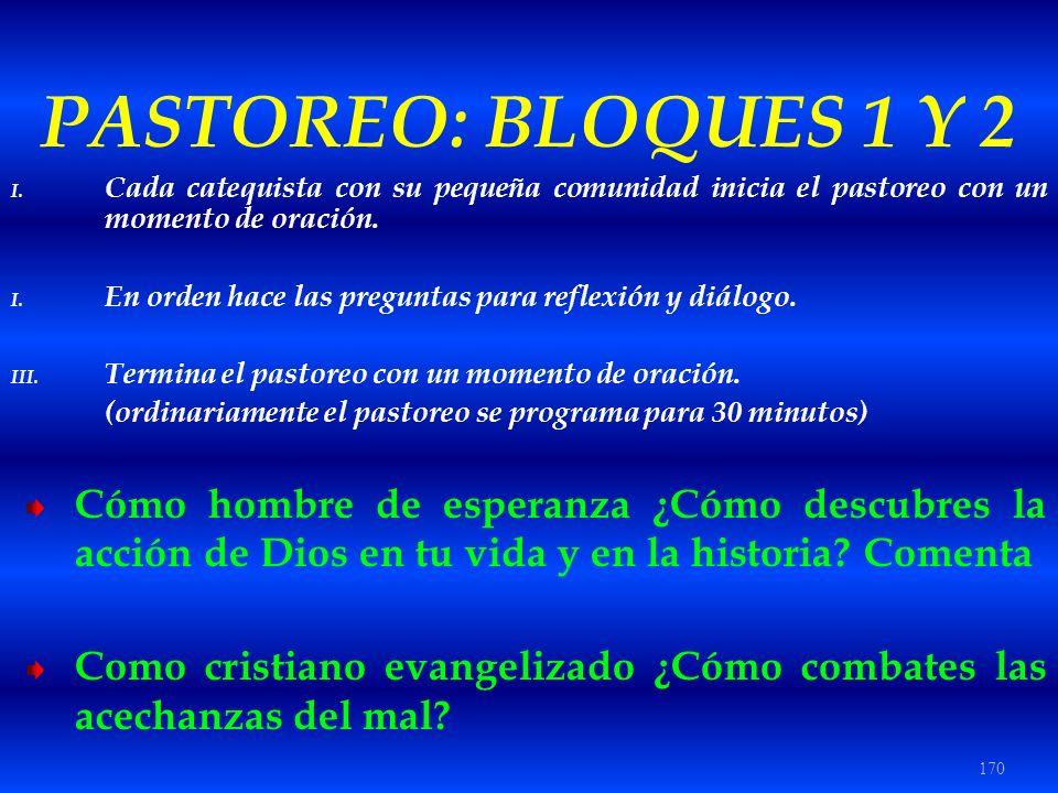 PASTOREO: BLOQUES 1 Y 2 Cada catequista con su pequeña comunidad inicia el pastoreo con un momento de oración.