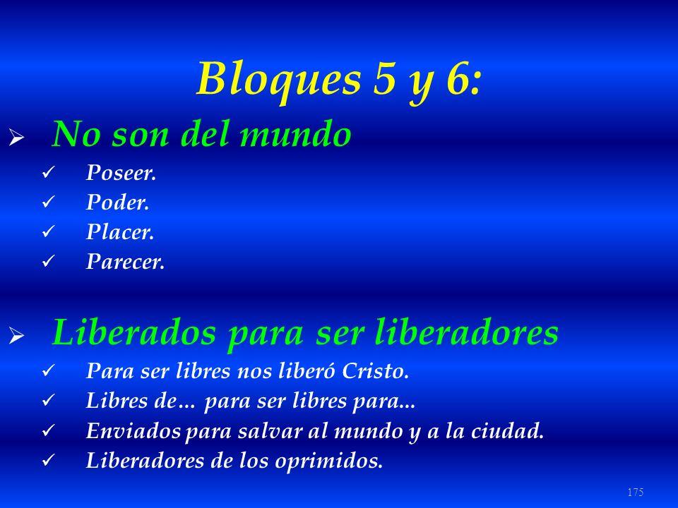 Bloques 5 y 6: No son del mundo Liberados para ser liberadores Poseer.