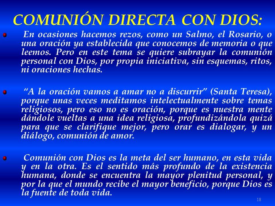 COMUNIÓN DIRECTA CON DIOS: