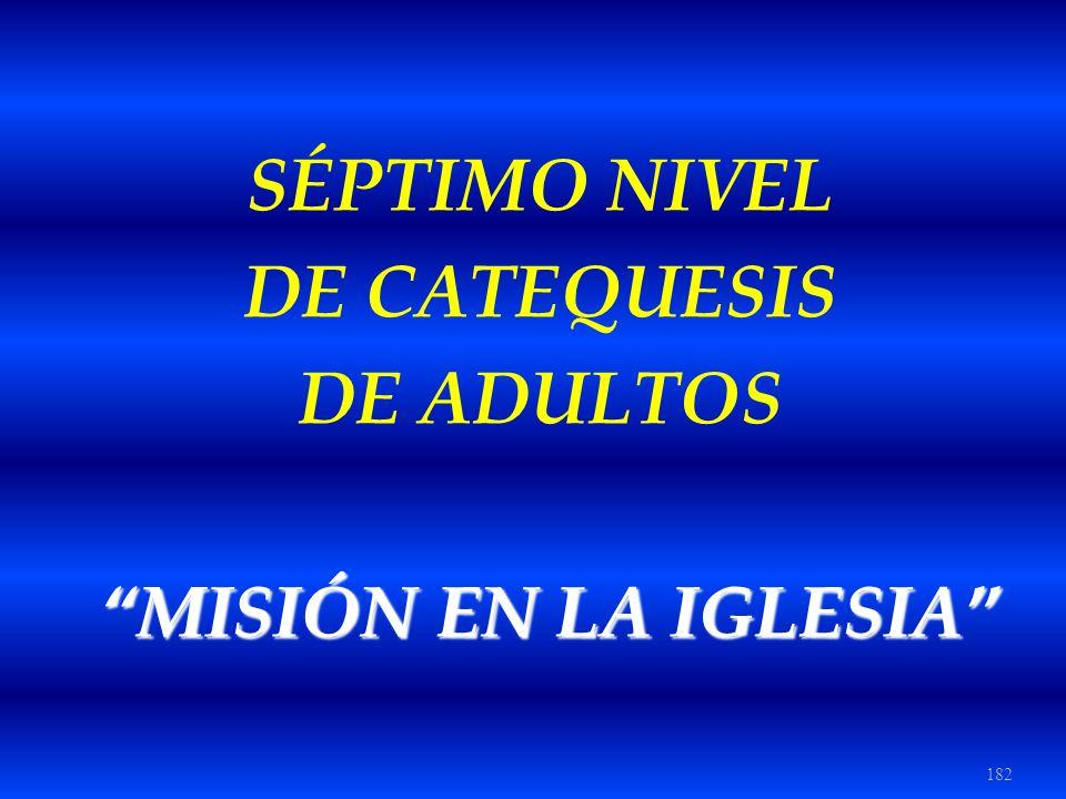SÉPTIMO NIVEL DE CATEQUESIS DE ADULTOS MISIÓN EN LA IGLESIA