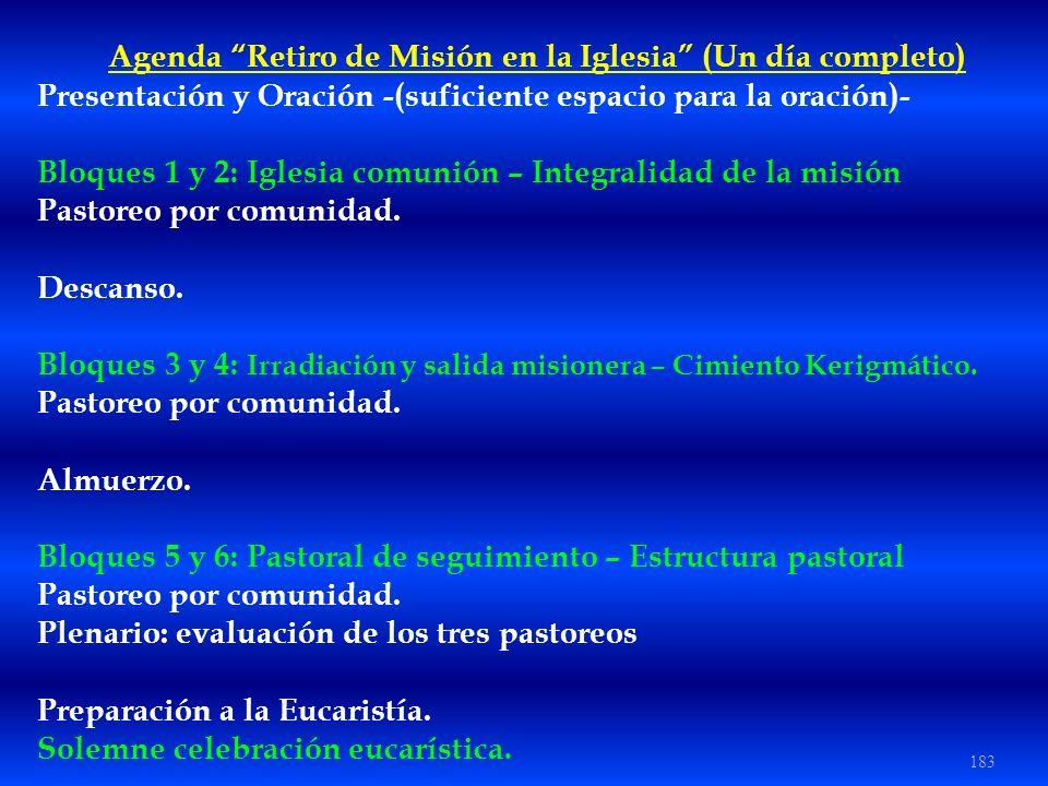 Agenda Retiro de Misión en la Iglesia (Un día completo)