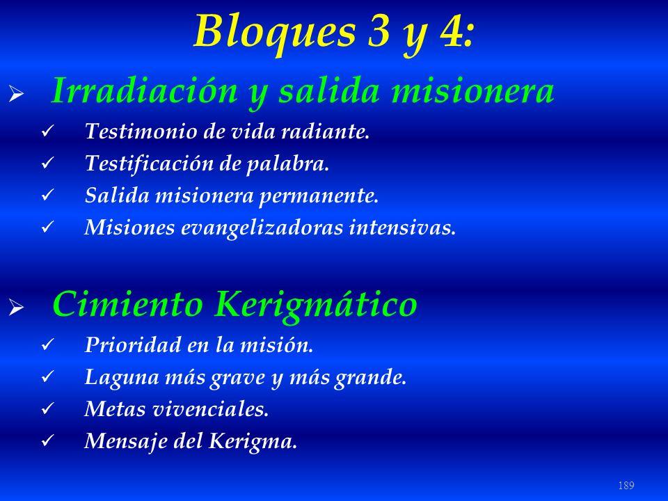 Bloques 3 y 4: Irradiación y salida misionera Cimiento Kerigmático
