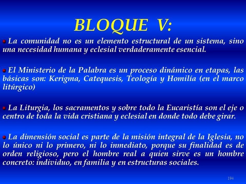 BLOQUE V: La comunidad no es un elemento estructural de un sistema, sino una necesidad humana y eclesial verdaderamente esencial.
