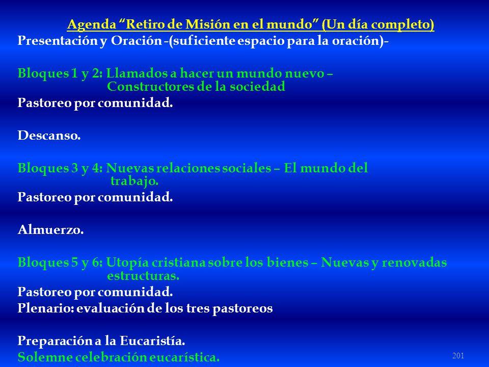 Agenda Retiro de Misión en el mundo (Un día completo)