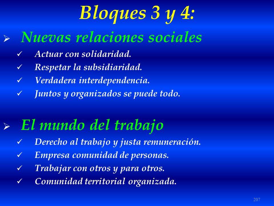 Bloques 3 y 4: Nuevas relaciones sociales El mundo del trabajo