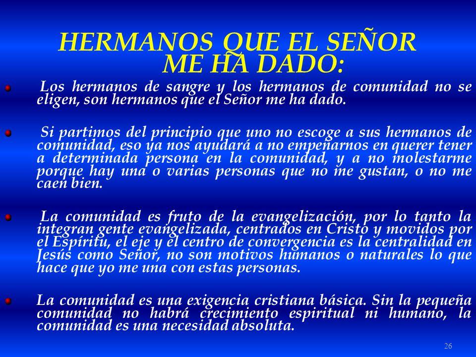 HERMANOS QUE EL SEÑOR ME HA DADO:
