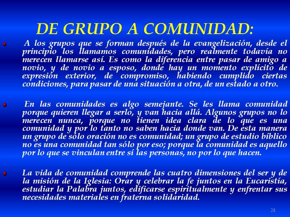 DE GRUPO A COMUNIDAD: