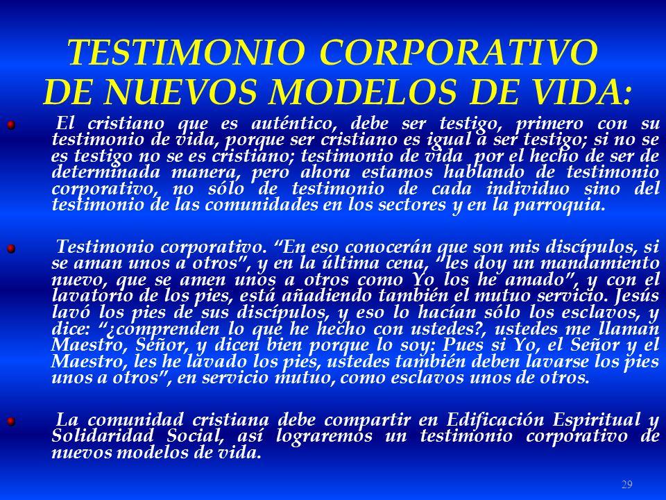 TESTIMONIO CORPORATIVO DE NUEVOS MODELOS DE VIDA: