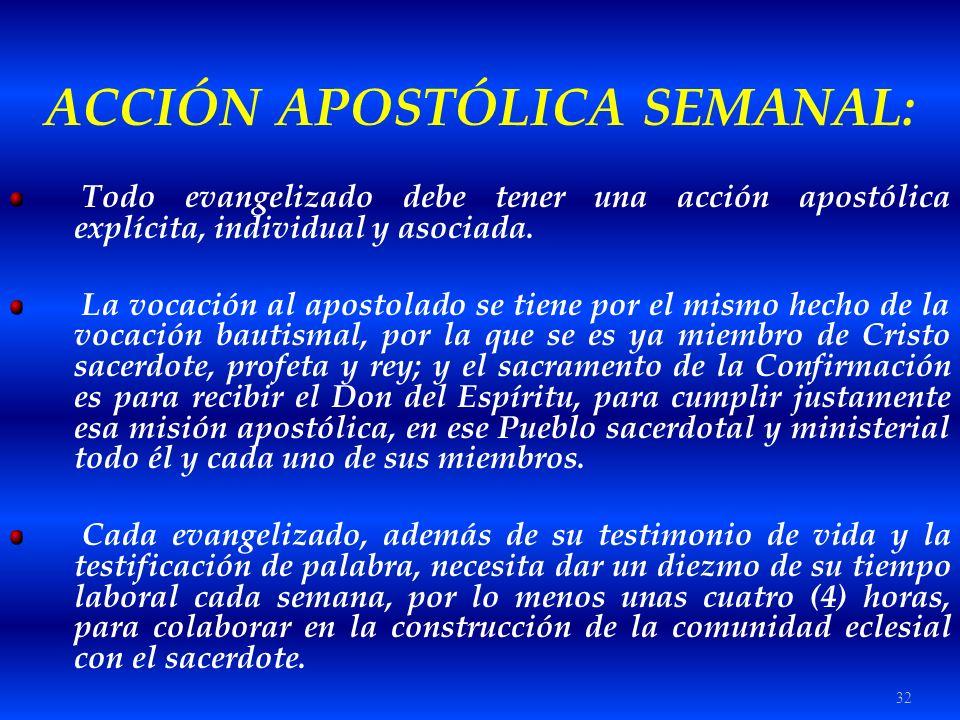 ACCIÓN APOSTÓLICA SEMANAL: