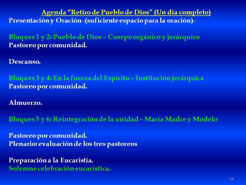 Agenda Retiro de Pueblo de Dios (Un día completo)
