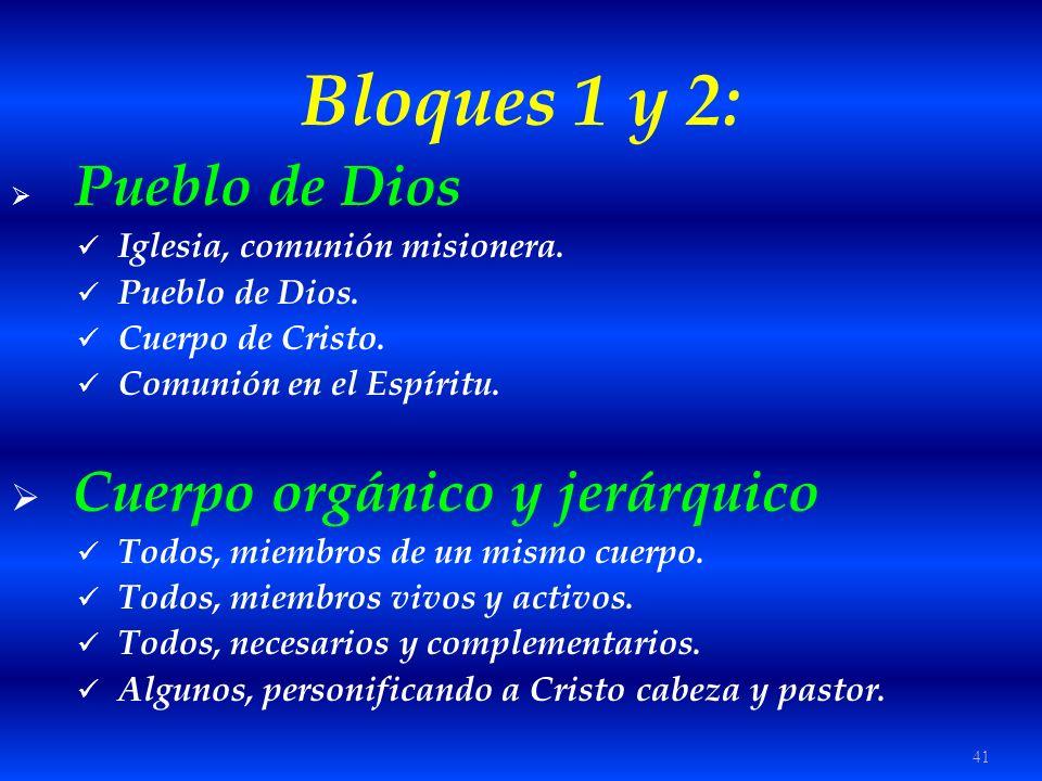 Bloques 1 y 2: Cuerpo orgánico y jerárquico Pueblo de Dios