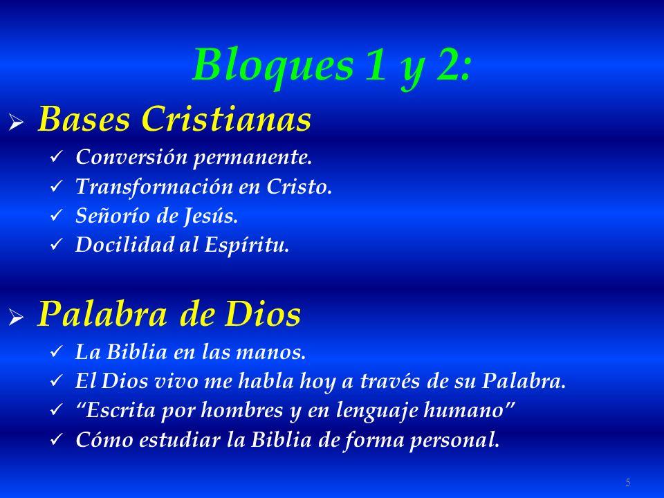 Bloques 1 y 2: Bases Cristianas Palabra de Dios Conversión permanente.