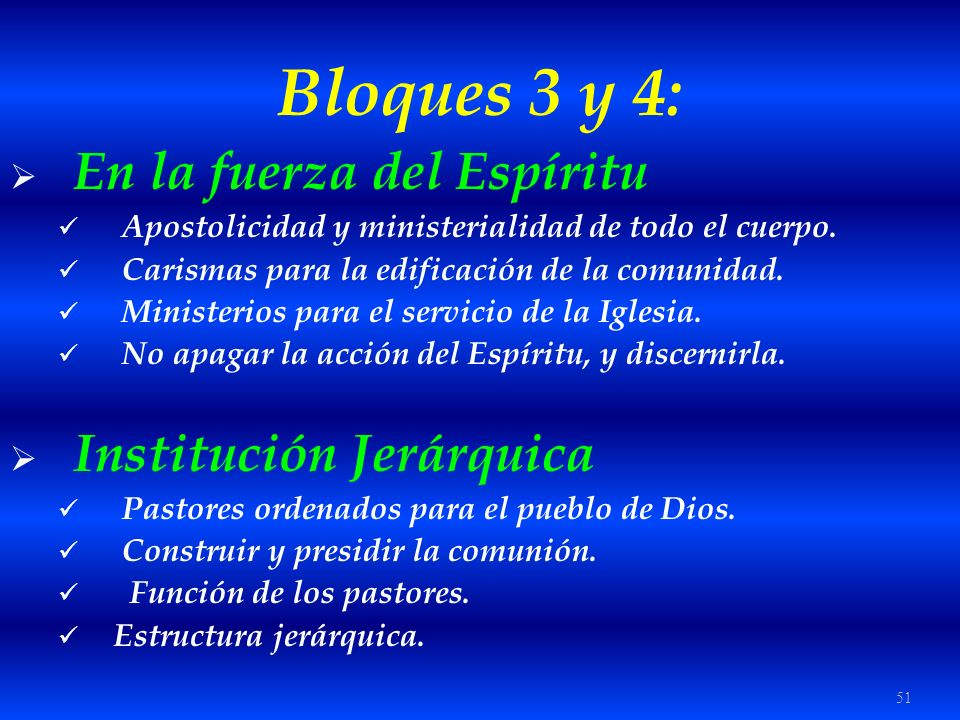 Bloques 3 y 4: En la fuerza del Espíritu Institución Jerárquica