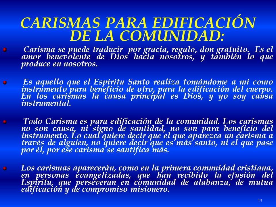 CARISMAS PARA EDIFICACIÓN DE LA COMUNIDAD: