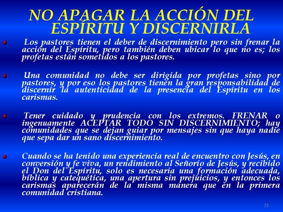 NO APAGAR LA ACCIÓN DEL ESPÍRITU Y DISCERNIRLA
