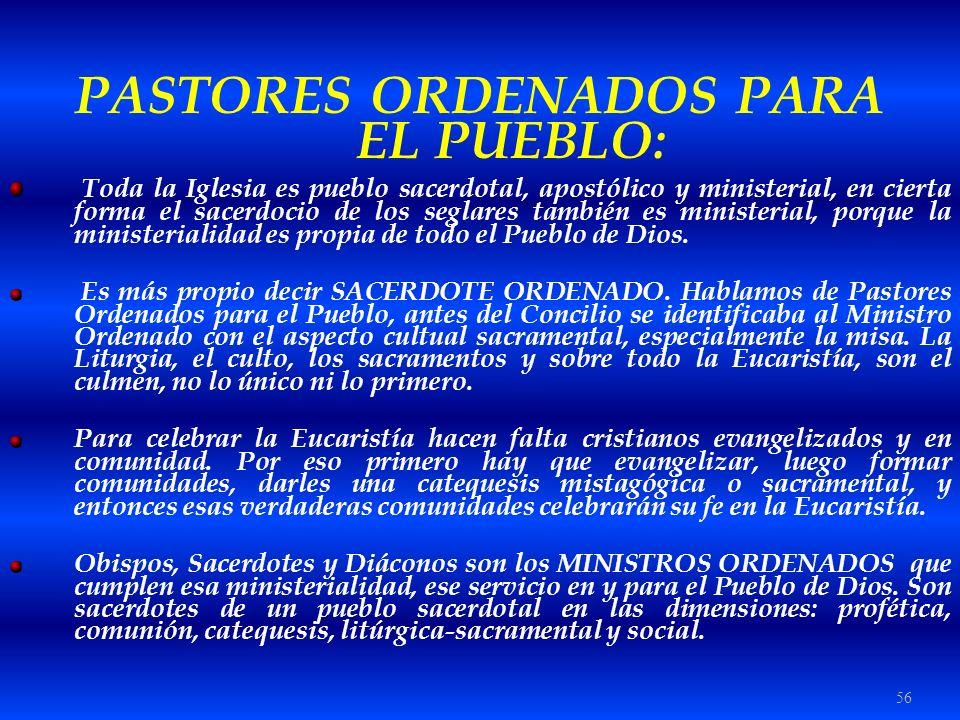 PASTORES ORDENADOS PARA EL PUEBLO: