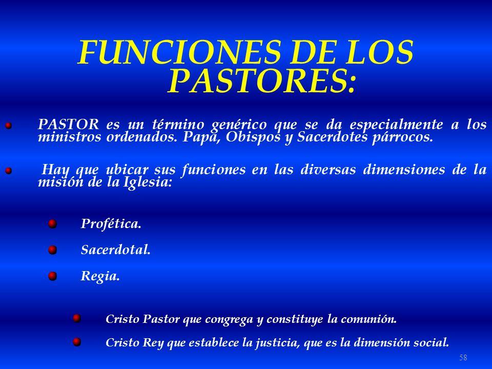 FUNCIONES DE LOS PASTORES: