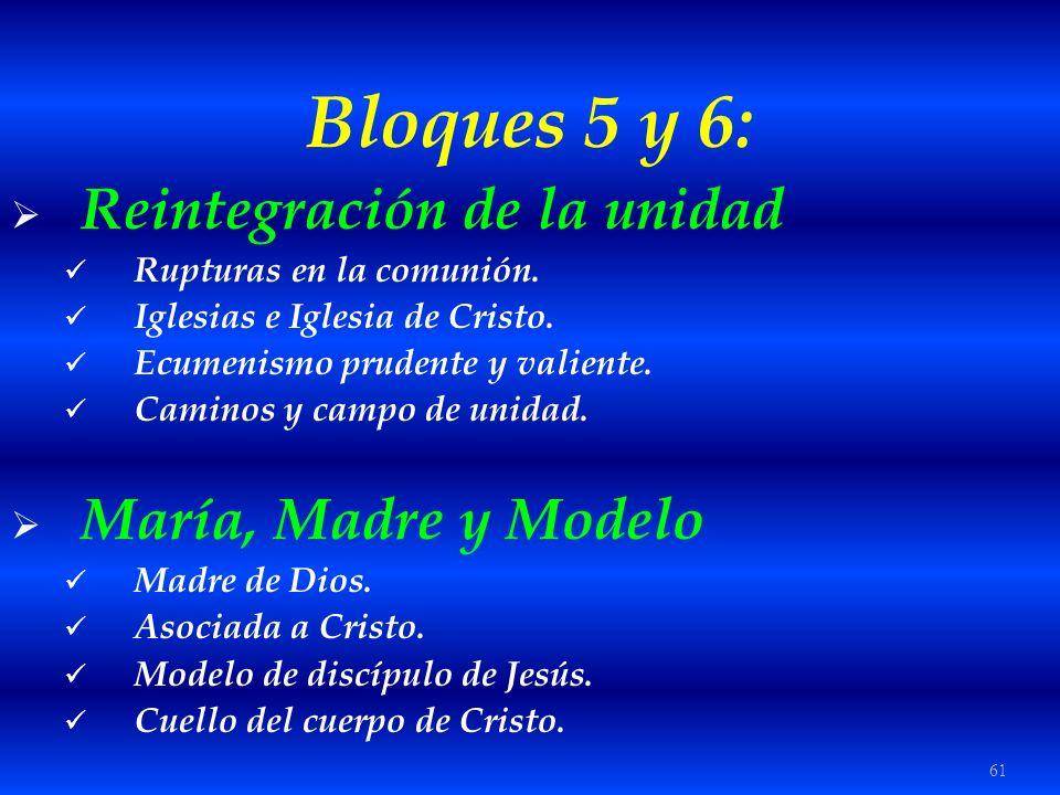 Bloques 5 y 6: Reintegración de la unidad María, Madre y Modelo