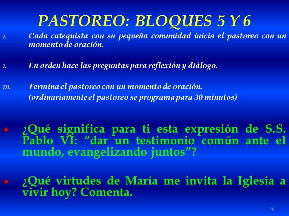 PASTOREO: BLOQUES 5 Y 6 Cada catequista con su pequeña comunidad inicia el pastoreo con un momento de oración.