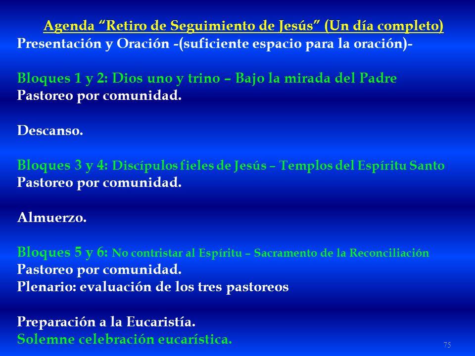 Agenda Retiro de Seguimiento de Jesús (Un día completo)