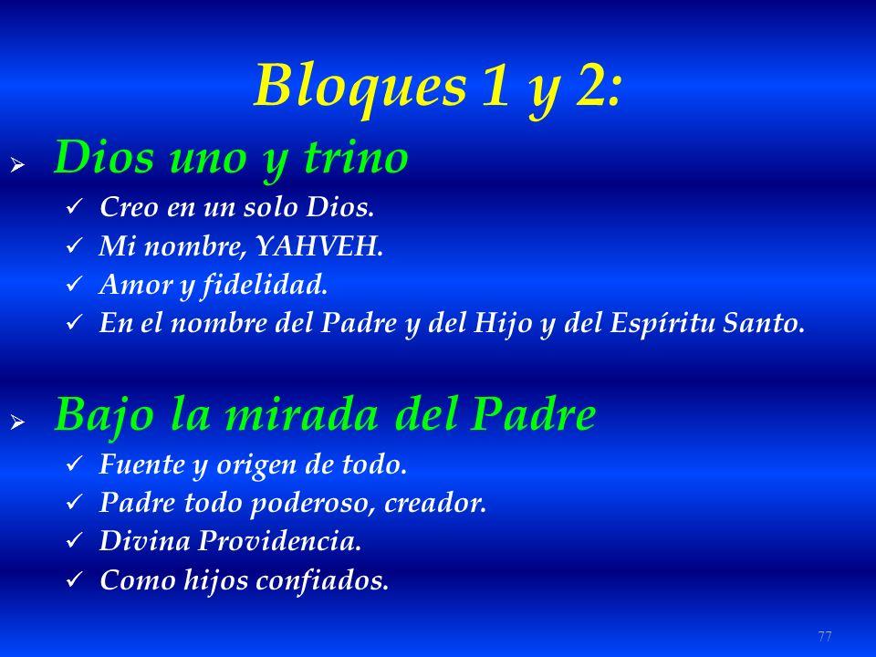 Bloques 1 y 2: Dios uno y trino Bajo la mirada del Padre