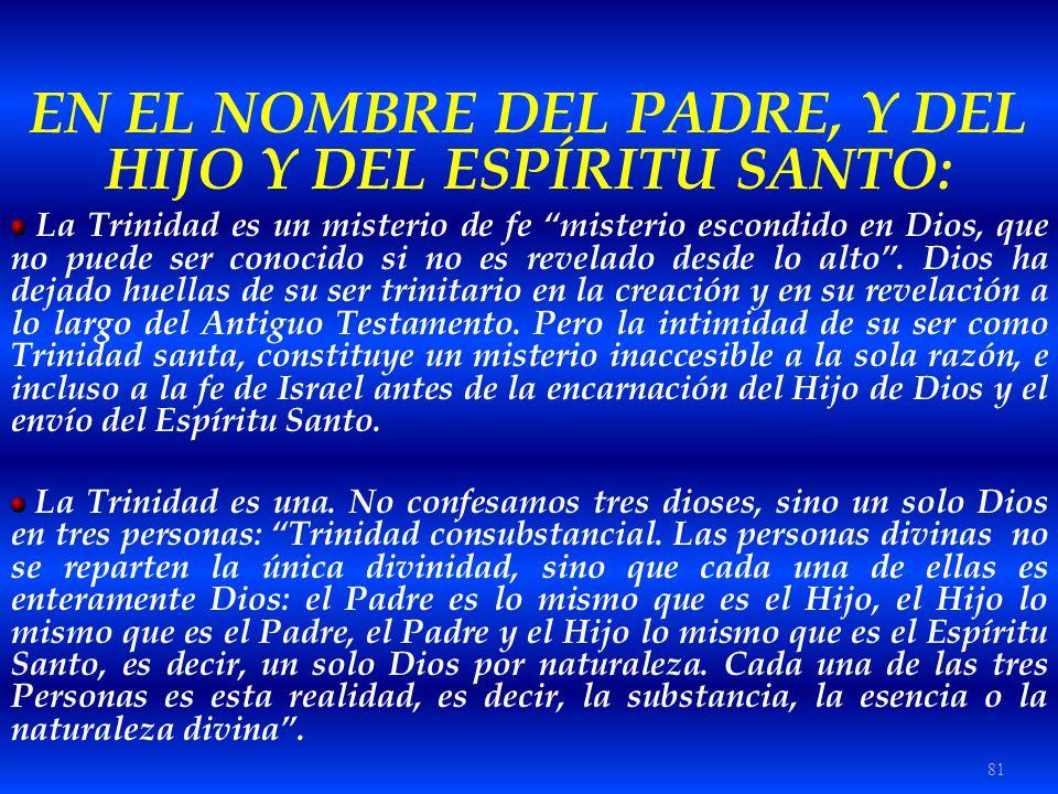 EN EL NOMBRE DEL PADRE, Y DEL HIJO Y DEL ESPÍRITU SANTO: