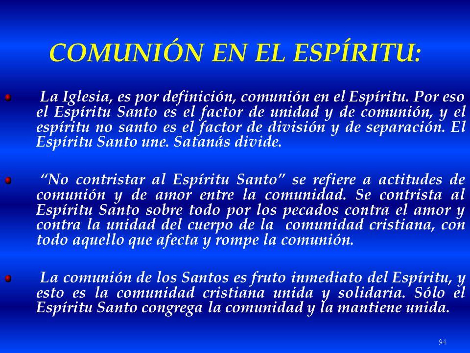 COMUNIÓN EN EL ESPÍRITU: