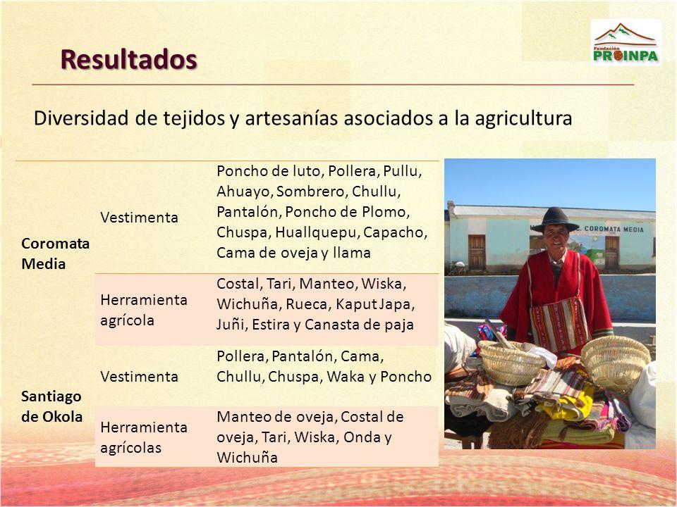 Resultados Diversidad de tejidos y artesanías asociados a la agricultura. Coromata Media. Vestimenta.