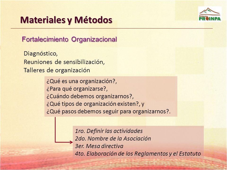 Materiales y Métodos Fortalecimiento Organizacional Diagnóstico,