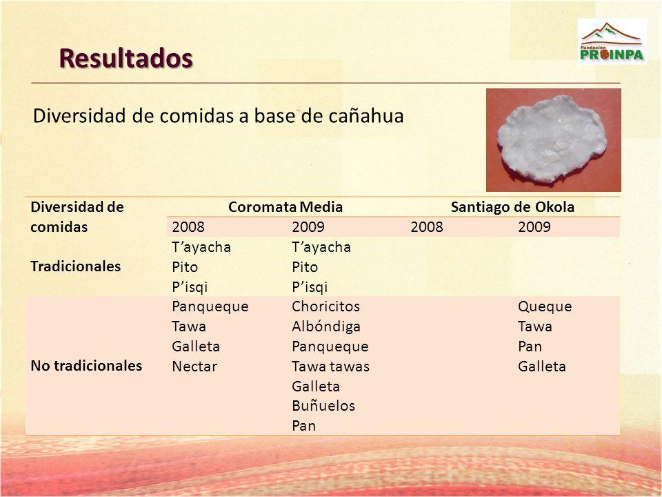 Resultados Diversidad de comidas a base de cañahua