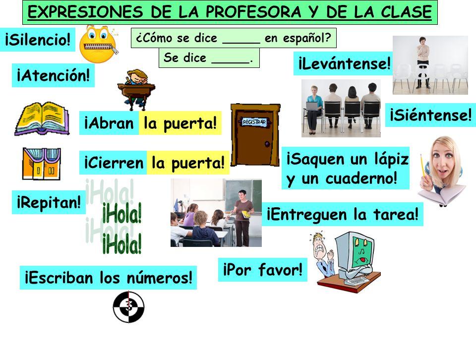 EXPRESIONES DE LA PROFESORA Y DE LA CLASE