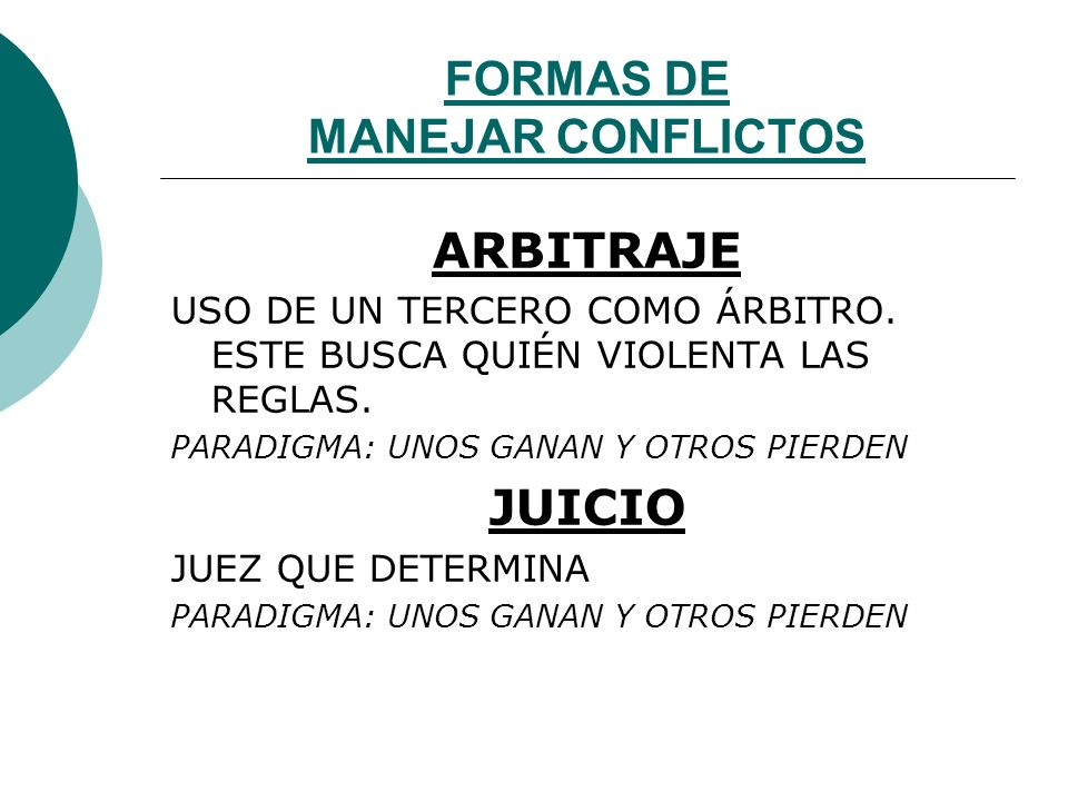 FORMAS DE MANEJAR CONFLICTOS