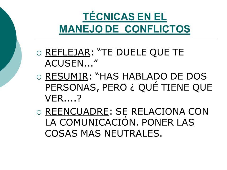 TÉCNICAS EN EL MANEJO DE CONFLICTOS