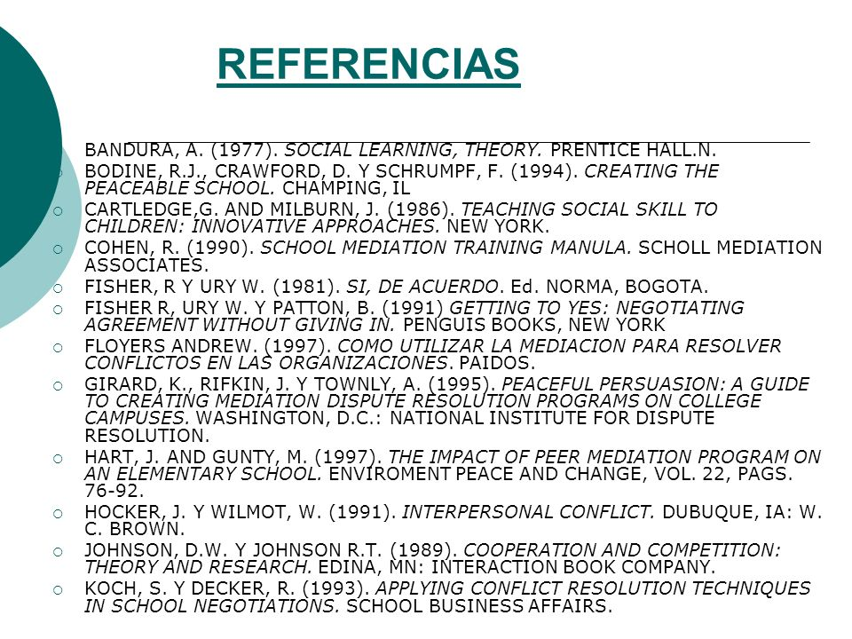 REFERENCIAS BANDURA, A. (1977). SOCIAL LEARNING, THEORY. PRENTICE HALL.N.