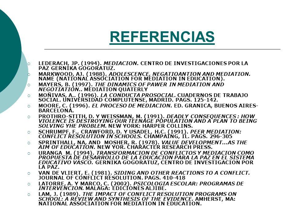 REFERENCIAS LEDERACH, JP. (1994). MEDIACION. CENTRO DE INVESTIGACIONES POR LA PAZ GERNIKA GOGORATUZ.