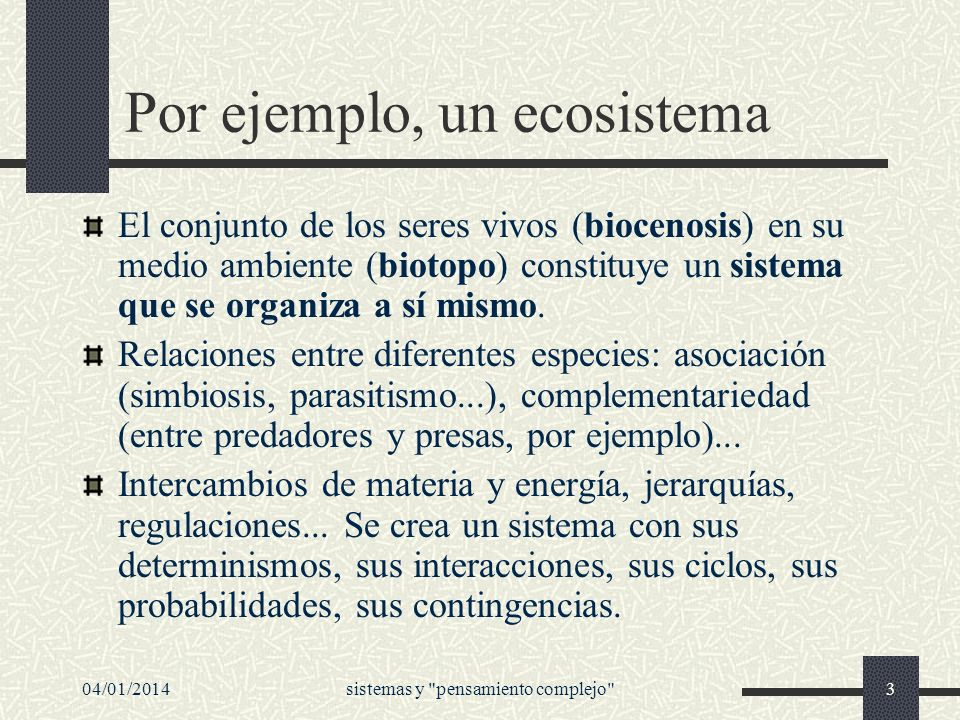 Por ejemplo, un ecosistema