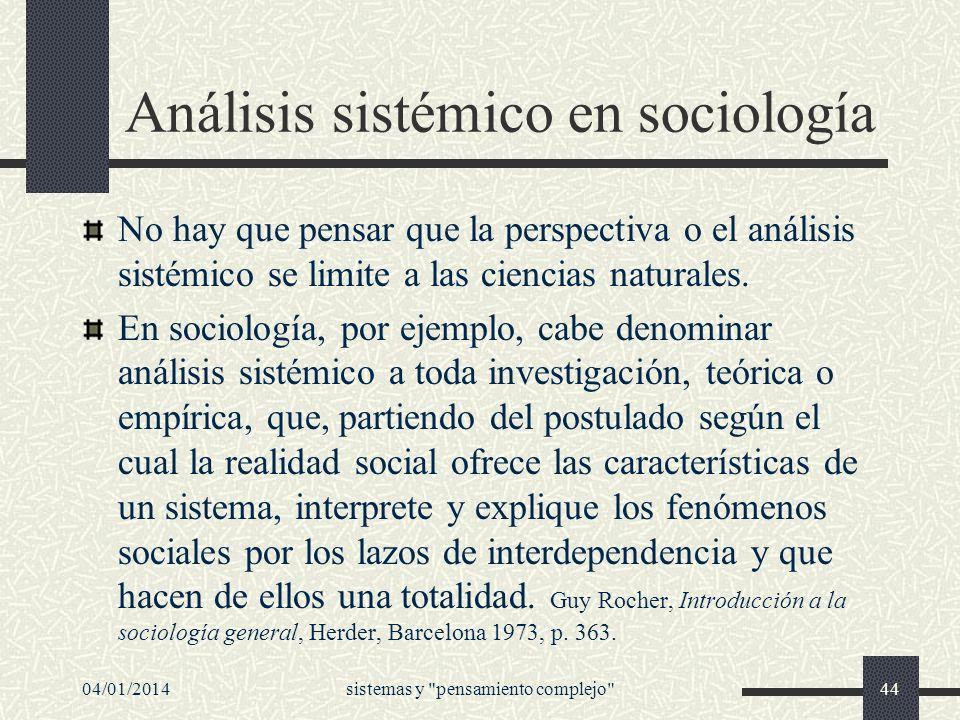 Análisis sistémico en sociología