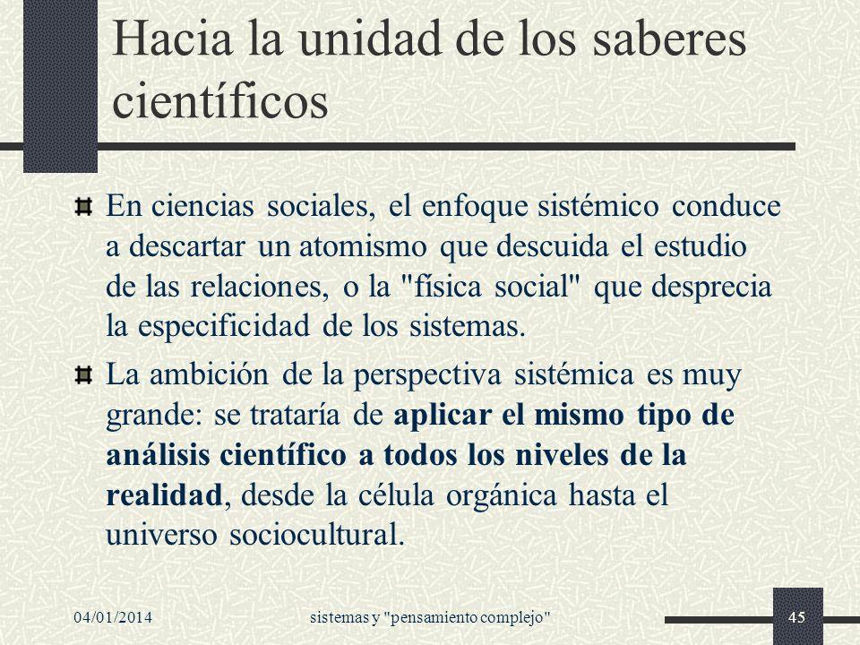 Hacia la unidad de los saberes científicos