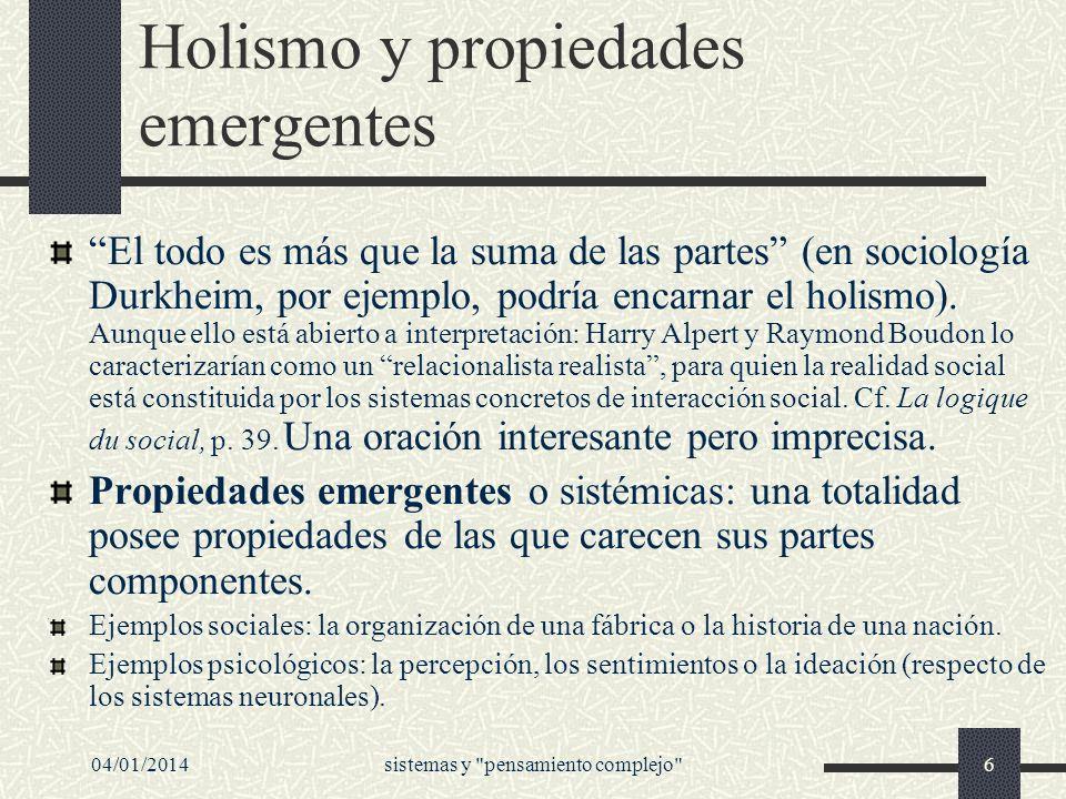 Holismo y propiedades emergentes