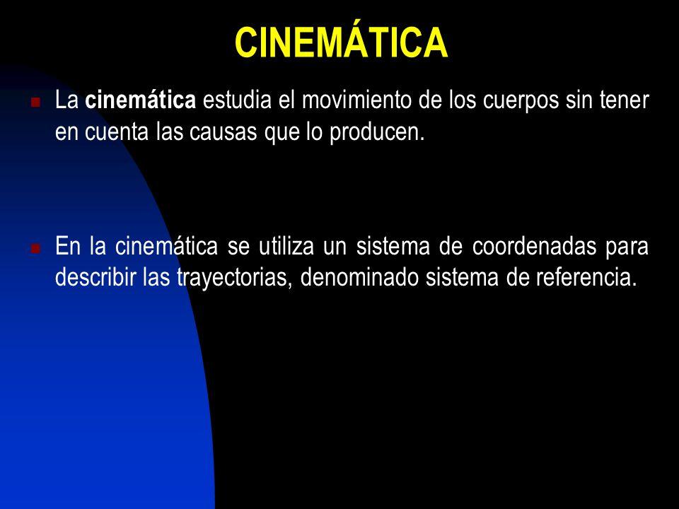 CINEMÁTICA La cinemática estudia el movimiento de los cuerpos sin tener en cuenta las causas que lo producen.